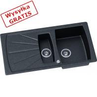Zlewozmywak granitowy Kernau KGS T 60 1,5B1D Black Metalic-20